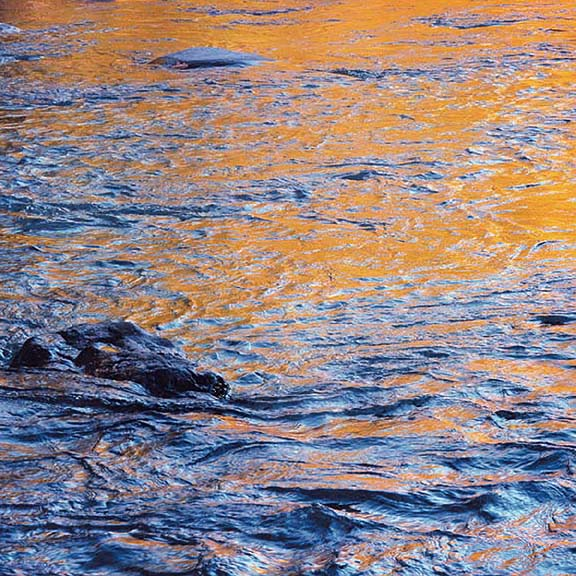 Blue and Gold Swirling Water